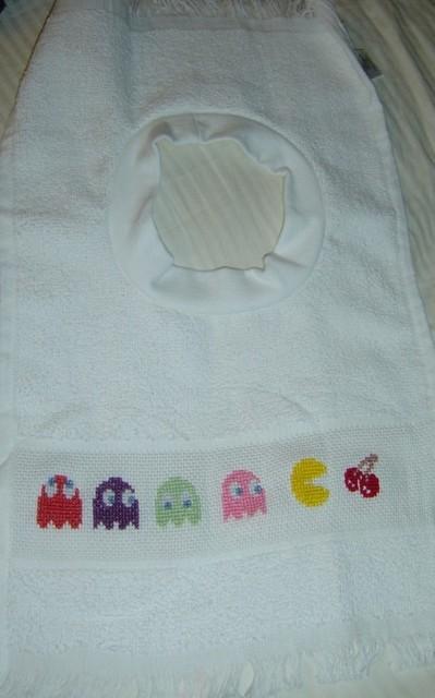 pacman bib cross stitch