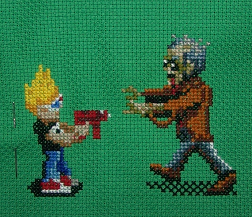 Zombies ate my neighbors cross stitch