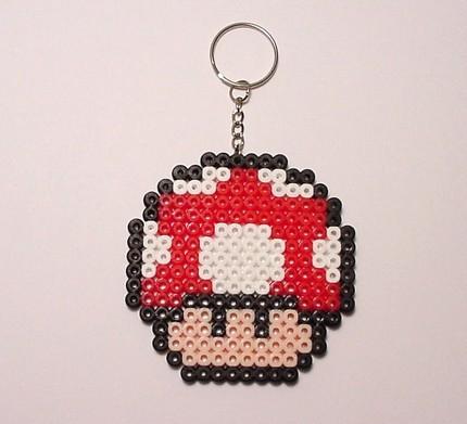 Dig dug and mario perler bead keychains