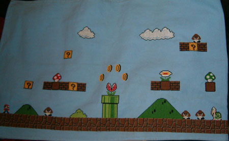 Halfway done with the epic mario cross stitch