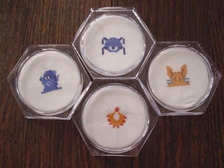 Zelda Enemies Cross Stitch Coasters