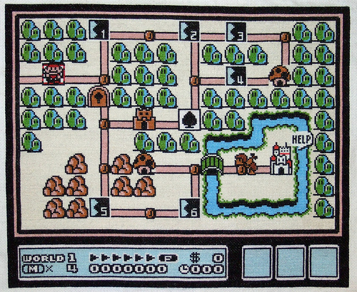 super mario brothers 3 map cross stitch