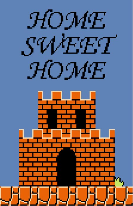 Mario Castle Home Sweet Home Cross Stitch Pattern