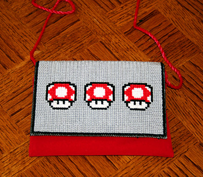 Mario Mushroom Cross Stitch Purse