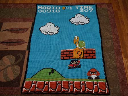 Crochet Pattern For Mario Blanket : Super Mario Bros Afghan Sprite Stitch