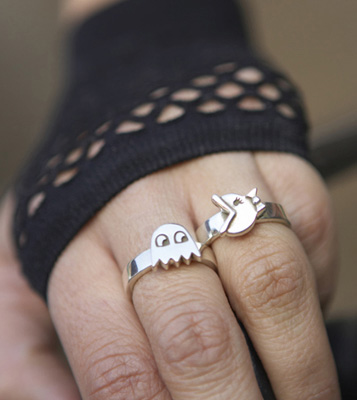 Ms. Pacman and Ghost Silver Ring