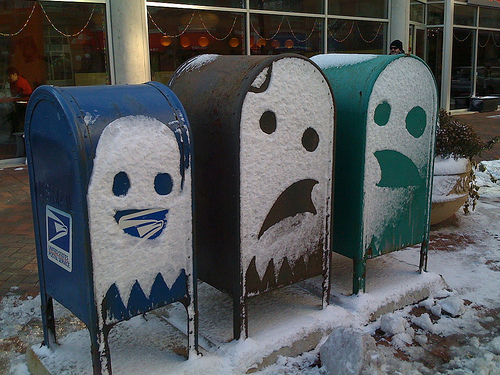 Pacman Ghosts Snow Mailbox