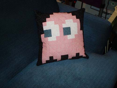 Pacman Pinky Ghost Quilted Pillow