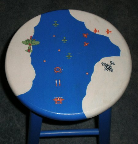 1943 Video Game Painted Stool
