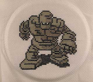 stone man cross stitch dragon warrior