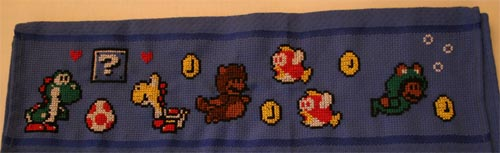 Mario Cross Stitch Towel 01