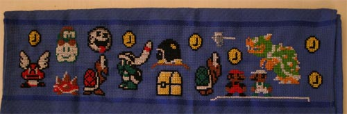 Mario  Cross Stitch Towel 02