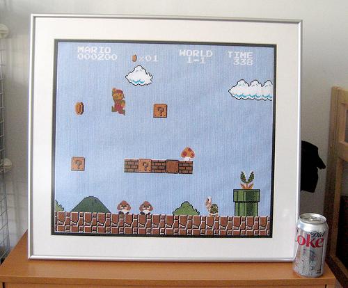 Mario World 1-1 Cross Stitch
