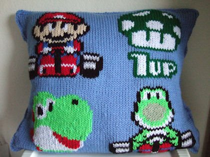 Knit Mario (and Yoshi) Pillow Sprite Stitch