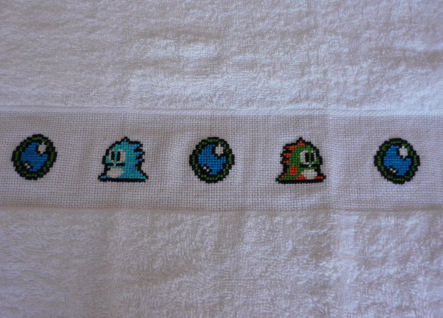 Bubble Bobble Cross Stitch Towels