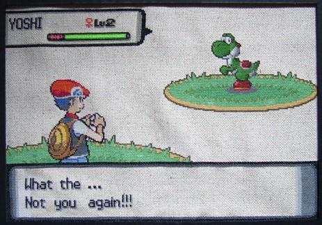 Ash Meets Yoshi Cross Stitch