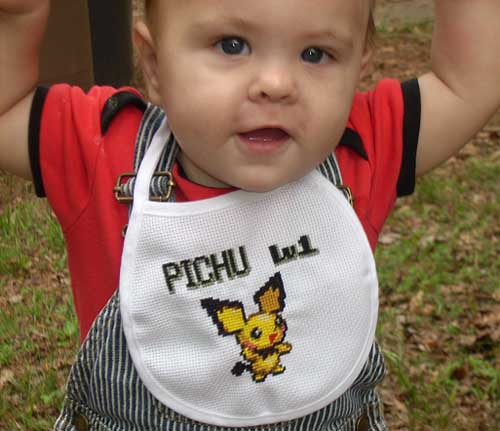 Pikachu Cross Stitch Bib