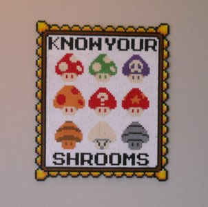 Mario Mycology Know Your Shrooms Perler Beads