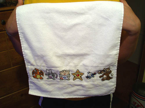 Pokemon Cross Stitch Hand Towel 01
