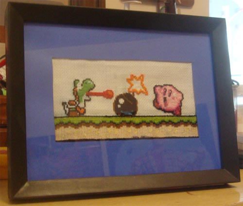 Yoshi and Kirby Cross Stitch