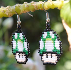 Beaded Earrings 1up Mushroom