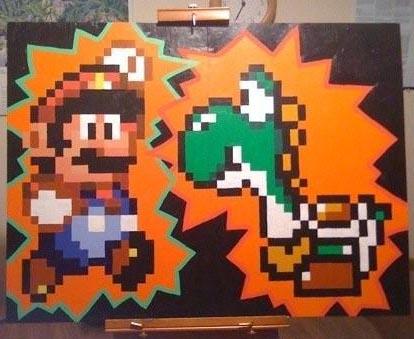 Mario and Yoshi Painting