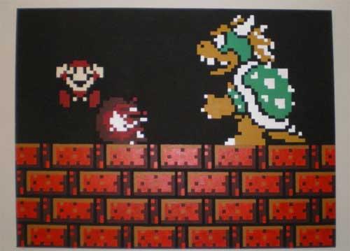 Bowser Mario Painting