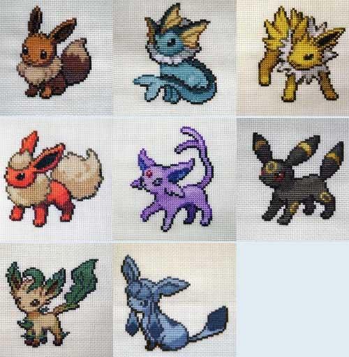 Eevee Evolution Pokemon Stitching