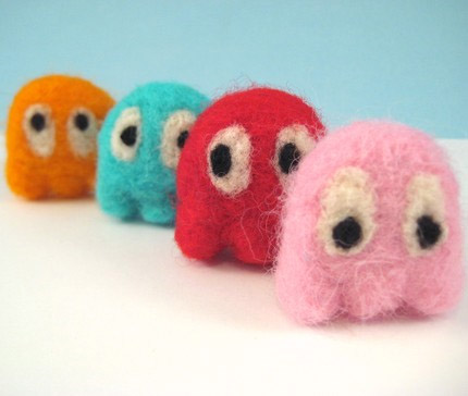 Pacman Ghosts Needle Felt