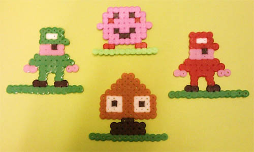 Perler Mario and Luigi