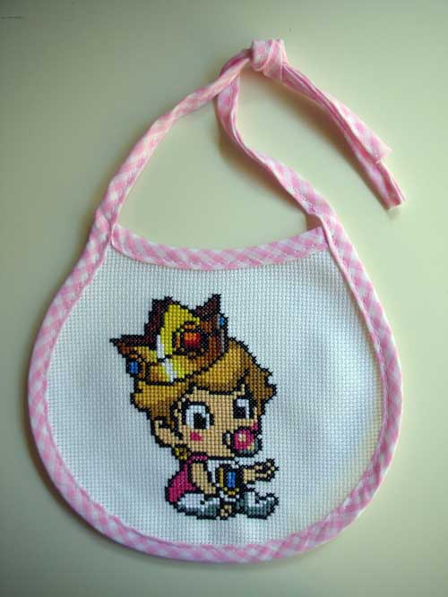 Baby Princess Mario Bib Cross Stitch