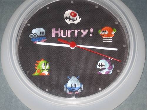 Bubble Bobble Cross Stitch Clock