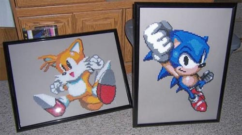 Sonic and Tails Perler Bead Sprites