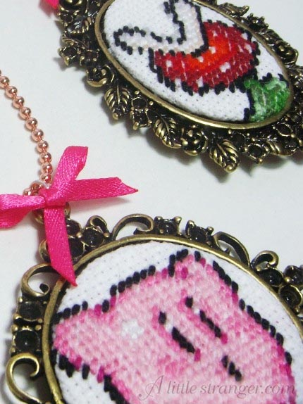 kirby yoshi mario piranha necklace cross stitch craft