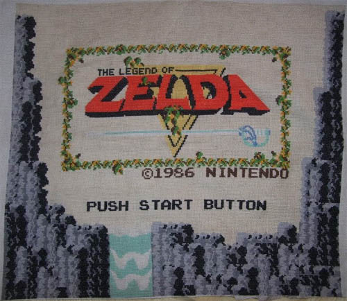 zelda title screen cross stitch