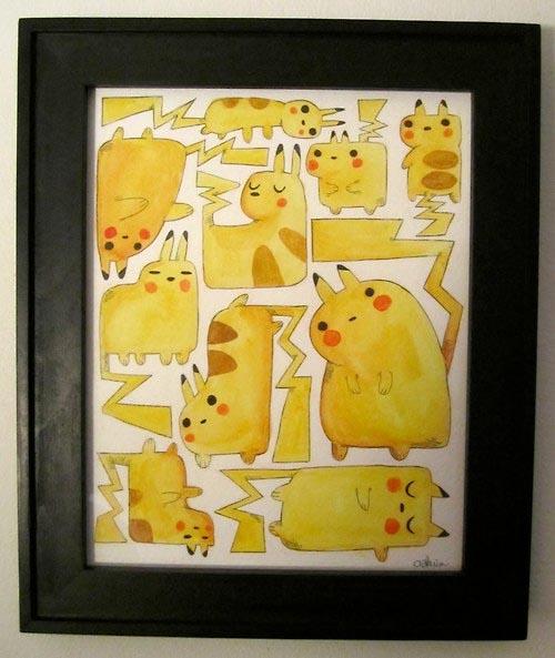 pikachu art painting watercolor