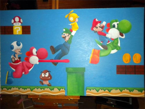 new super mario bros wii painting