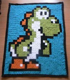 yoshi mario blanket crochet