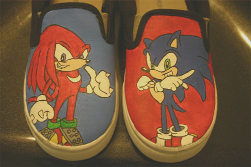 sonic painted shoes
