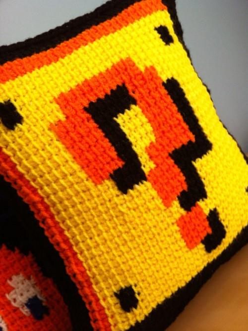Crochet Pattern For Mario Blanket : Crocheted Mario Block Pillow Sprite Stitch