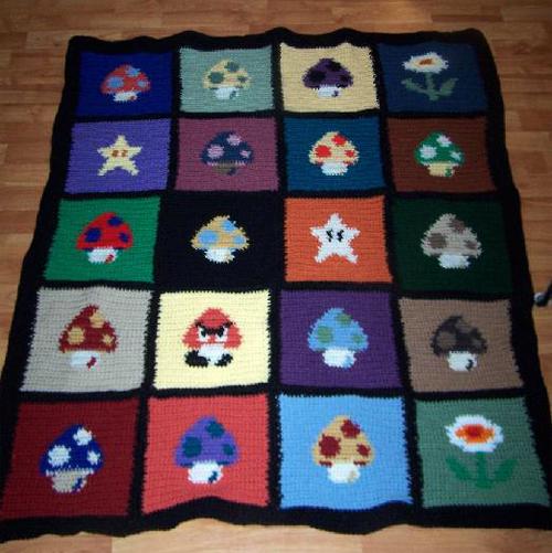 Crochet Pattern For Mario Blanket : Crochet Mario Mushroom Blanket Sprite Stitch