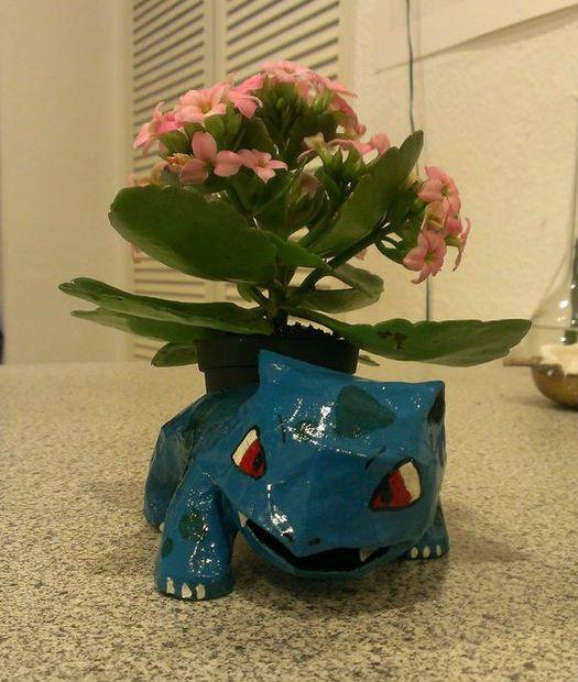 Pokemon flowerpots sprite stitch this ivysaur was made by applying paper mache to a papercraft model mightylinksfo