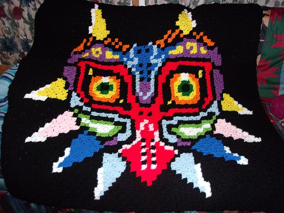 Majora's Mask Crochet Blanket by blackberrybear