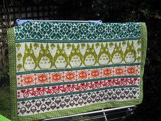Totoro Inspired Latvian Garden Blanket